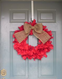 Burlap Wreath with Bow included  other sizes by RedRobynLane, $50.00