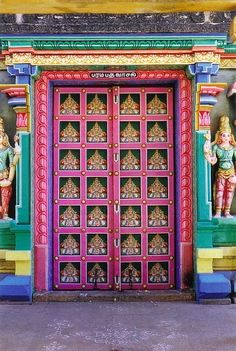 A colourful door in Sri Ranganathaswamy Temple (Sarah Shaw) (Sarah Shaw) your pins are so beautiful! Thank you so much for stopping into Cool Doors, Unique Doors, Door Entryway, Entry Doors, Entrance, When One Door Closes, Door Gate, Closed Doors, Doorway