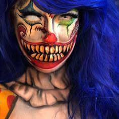 The Clown by the amazing - Spezial Make up¹ - halloween schminke Amazing Halloween Makeup, Halloween Inspo, Halloween Makeup Looks, Halloween 2019, Scary Halloween, Halloween Make Up, Gruseliger Clown, Es Der Clown, Creepy Clown