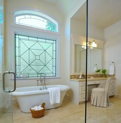 I've seen many bathrooms with windows that have beencovered with shutters, or some sort of blacked-out window covering, to create privacy, and either approach is just like walling up a window! Instead, cover a window with a translucent window shade, or a tone-on-tone stained glass window - that way you can have natural light and privacy!
