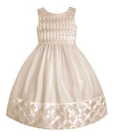 This American Princess White Satin Lattice Dress - Girls & Girls' Plus by American Princess is perfect! #zulilyfinds