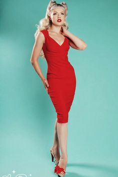 Pinup Couture - PINUP COUTURE 50s Erin wiggle dress Red