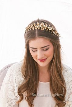 Golden Leaf and Champagne Pearl Headband by BeSomethingNew on Etsy