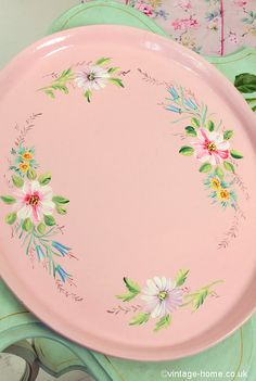 Vintage Home Shop - Pretty 1930s Floral Painted Pink Tray: www.vintage-home.co.uk