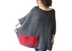 Plus Size - Over Size Sweater Dark Gray - Red Hand Knitted Sweater with Pocket Tunic - Sweater Dress by Afra by afra on Etsy https://www.etsy.com/listing/192817886/plus-size-over-size-sweater-dark-gray
