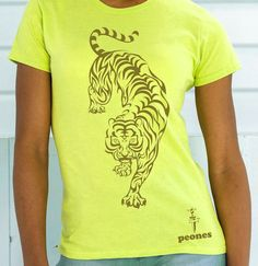 "Image of T-shirt Lady & Men/Unisex ""tIgRE STAmPA oRO"" in cotone colore Lime"