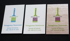 Letterpress.   Client :: Fluvio Olivero - interior and exterior painting services  Custom Logo design / bucket and brush: a painter's essentials   Paper :: 110lb Crane's Lettra100% cotton paper / Wood.  Ink :: Vegetable based :: Blue/Green Violet/Green