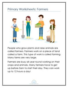 Primary Worksheets: Farmers - Mr Greg's English Cloud