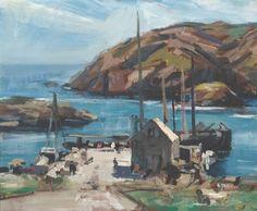"""Monhegan Harbor,"" Jay Hall Connaway, oil on Masonite, 20 x private collection. Jamie Wyeth, Monhegan Island, Rockwell Kent, Boothbay Harbor, Maine Cottage, Australian Artists, East Coast, Impressionism, Painters"