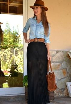 Jean top with black pleated maxi skirt. Brown accessories.
