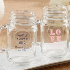 Personalized Wedding Mason Jar Mug 16 Oz