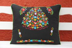 Black and Multi colored Puebla Collection  Sham created from huipil kaftans
