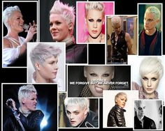 Reference for character Viviane. Pink, a couple hair models, Spike from Buffy, and bleached hair Gerard Way.