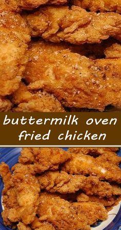 Buttermilk Oven Fried Chicken, Fried Chicken Recipes, Baked Chicken, Turkey Recipes, Meat Recipes, Cooking Recipes, Oven Recipes, Fries In The Oven, Chicken
