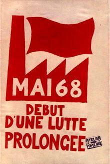 Mayo de 1968 en Francia -Mayo francés o Mayo del 68 la cadena de protestas que se llevaron a cabo en Francia y, especialmente, en París durante los meses de mayo y junio de 1968. Esta serie de protestas fue iniciada por grupos estudiantiles de izquierda contrarios a la sociedad de consumo, a los que posteriormente se unieron grupos de obreros industriales, los sindicatos y el Partido Comunista Francés.