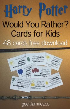 Would You Rather? Harry Potter Themed Questions: a free download of 48 cards and strips