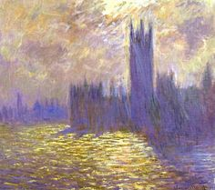 Houses of Parliament, London, Oil by Claude Monet (1840-1926, France)