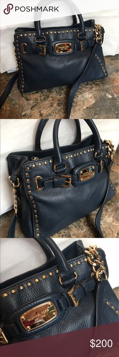 MK navy blue Hamilton soft leather In amazing shape a lot of storage and gold tone accents this bag has so much to offer and MK bling : ) Michael Kors Bags