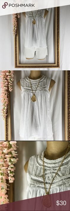 NWT Anthropologie Top Lovely white BoHo sleeveless top by Akemi + Kim for Anthropologie Anthropologie Tops Blouses