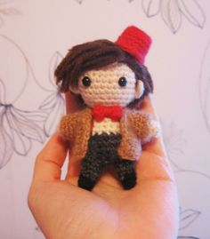 Yesterday we showcased Sherlock  Holmes. Today? The Fez-adorned 11th Doctor!   Free pattern: http://www.ravelry.com/patterns/library/chibi-eleventh-doctor