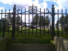 Closer shot of secondary gate at Liberty Cemetery, Jacksonville, IL