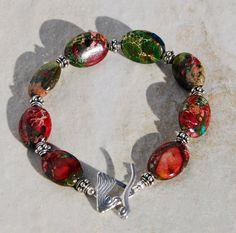 Impression Jasper bracelet bali silver by KarmaKittyJewelry