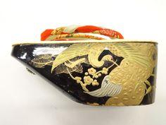 アンティーク 蒔絵ぽっくり(21.5センチ) Japanese lacquer clog with cranes motif