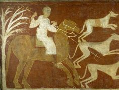 Fresco from the Church of San Baudelio de Berlanga, Soria, Spain - 12th century  A Horseman Hunting
