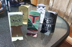 Party Activity: have the boys assemble paper Star Wars characters. Links to Printable PDFs.