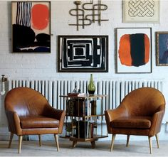 Salon wall plus The Calvin Leather Chair - Mid-Century modern spin via @DwellStudio