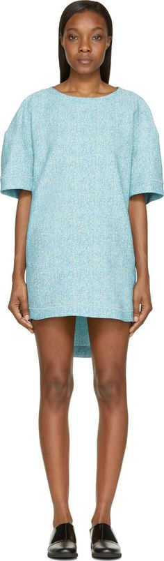 Viktor & Rolf | Tweed Jacquard Short Sleeve Dress in mint and grey