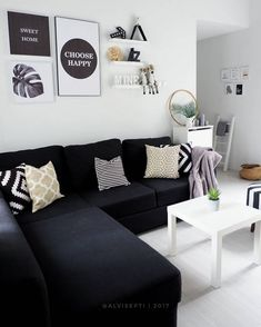 black and white small living room ideas ruang tamu simple Sitting Room Decor, Living Room Decor Cozy, Simple Living Room, Elegant Living Room, Tiny Living Rooms, Living Room Lounge, Home Living Room, Home Bedroom, Black And White Living Room