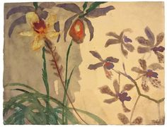 Emil Nolde (German, 1867-1956), Orchideen, c.1925. Watercolour on Japan paper.
