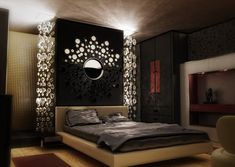 Interior Master Bedroom Designs - Home Decorating Ideas I could never have this for a bedroom but it looks wicked cool.