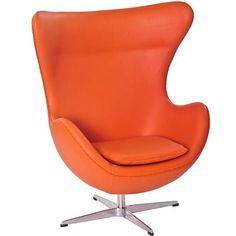 Orange Italian Leather With Aluminium Legs Glove Lounge Chair