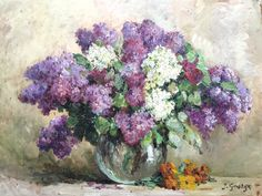 A lilac bouquet . Big oil on hard board .Signed J by Albanegalery