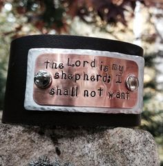 The Lord is my Shepherd -  Leather Cuff Copper and Aluminum Hand-stamped Wrap