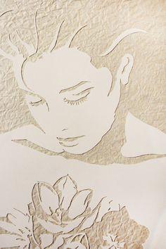 "Original Art , Female Figure in (handmade paper on paper)  ""Through the Tulips"" by Marcy Ann Villafaña"