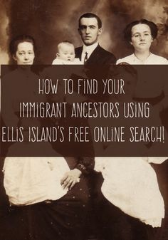 How to Find Your Ancestors Who Passed Through Ellis Island. You can easily use the free Ellis Island online search to find out more about your immigrant ancestors who came through there. Free Genealogy Sites, Genealogy Search, Genealogy Forms, Family Genealogy, Ancestry Free, Free Genealogy Records, Genealogy Humor, Genealogy Chart, Family Tree Research