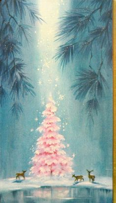 "Vintage Christmas Card "" From the heavens fall, Delicate crystal snowflakes, Angelic blessings."" ~Janienne Jennrich : Vintage Christmas Card "" From the heavens fall, Delicate crystal snowflakes, Angelic blessings. Pink Christmas Tree, Noel Christmas, Retro Christmas, Christmas Greetings, Winter Christmas, Christmas Decorations, Xmas, Christmas Movies, Vintage Christmas Images"