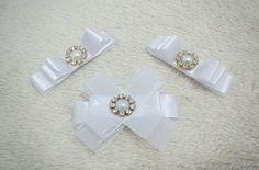 laço de cetim branco alfinete/broche kit
