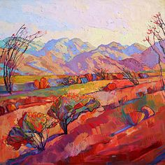Desert Landscape Painting - Ocotillo Triptych - Center Panel by Erin Hanson