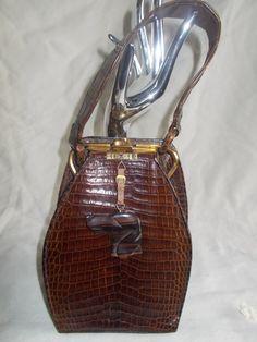 French Art deco crocodile skin handbag stunning shape with dog pull by VintageHandbagDreams on Etsy