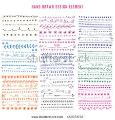 Hand Drawn colorful set of Doodle Line Borders. Rustic Decorative Design Elements, Floral, Birds, Hearts, Dividers, Arrows, Swirls, Scrolls. Sketched Vector Illustration.