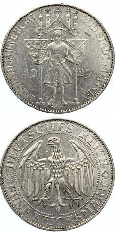 5 Mark Meissen 1929 VF.Price: 275,00 EUR #coins #currency #money