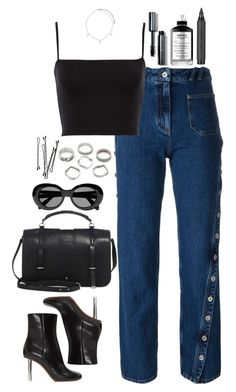 """""""Untitled #593"""" by lindsjayne ❤ liked on Polyvore featuring Courrèges, Vetements, Yves Saint Laurent, Bobbi Brown Cosmetics, Topshop, Acne Studios and Argento Vivo"""