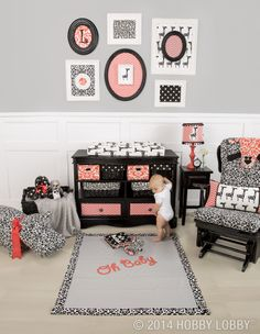 Basic baby pastels? Not for this wild child—and luckily, our duck cloth can go there! Do up a cute-goes-contemporary nursery with black, white and some pretty amazing coral!