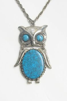 Vintage Turquoise Owl Necklace $22 by sheryl