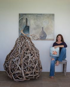 Bermuda Photographer - Amanda Temple with driftwood sculpture - The Fruit of Time and Tide, painting on canvas - Morillo's Bottle and  archival digital photograph on silver-leafed canvas - Wabi Sabi