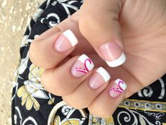 A basic French gel manicure with a purple twist design. Clean and simple for any occasion.